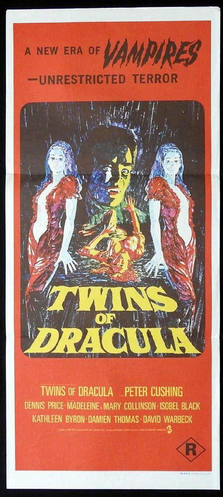 TWINS OF DRACULA Rare Original Daybill Movie Poster HAMMER Peter Cushing