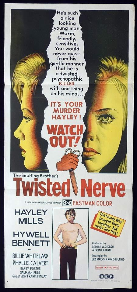 TWISTED NERVE Original Daybill Movie Poster Hywel Bennett Hayley Mills Agatha Christie