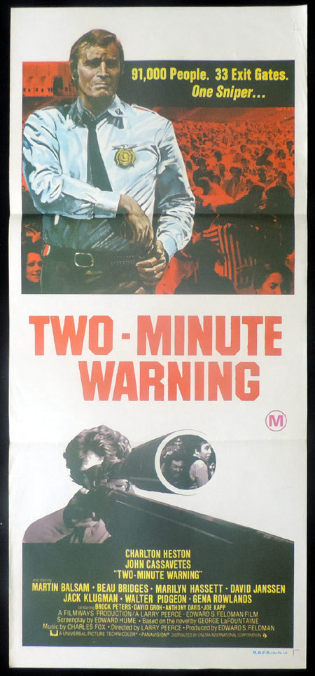 TWO MINUTE WARNING Original Daybill Movie Poster Charlton Heston John Cassavetes