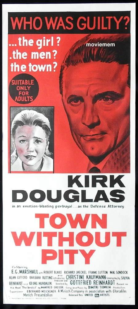 TOWN WITHOUT PITY Original Daybill Movie Poster Kirk Douglas Barbara Rütting