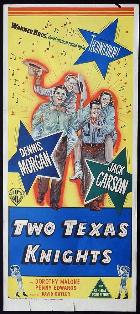 TWO TEXAS KNIGHTS Original Daybill Movie Poster Dennis Morgan Jack Carson