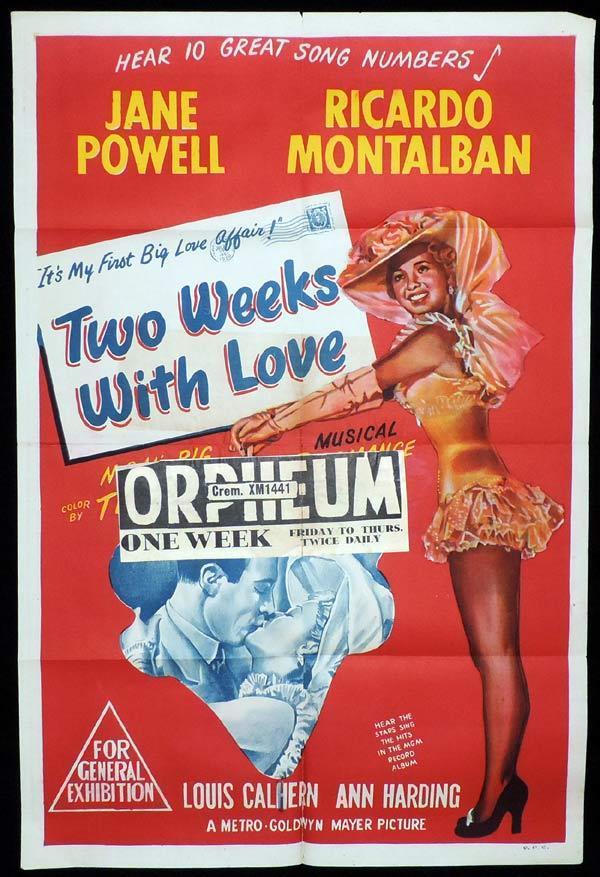 TWO WEEKS WITH LOVE One Sheet Movie Poster Ricardo Montalbán Jane Powell