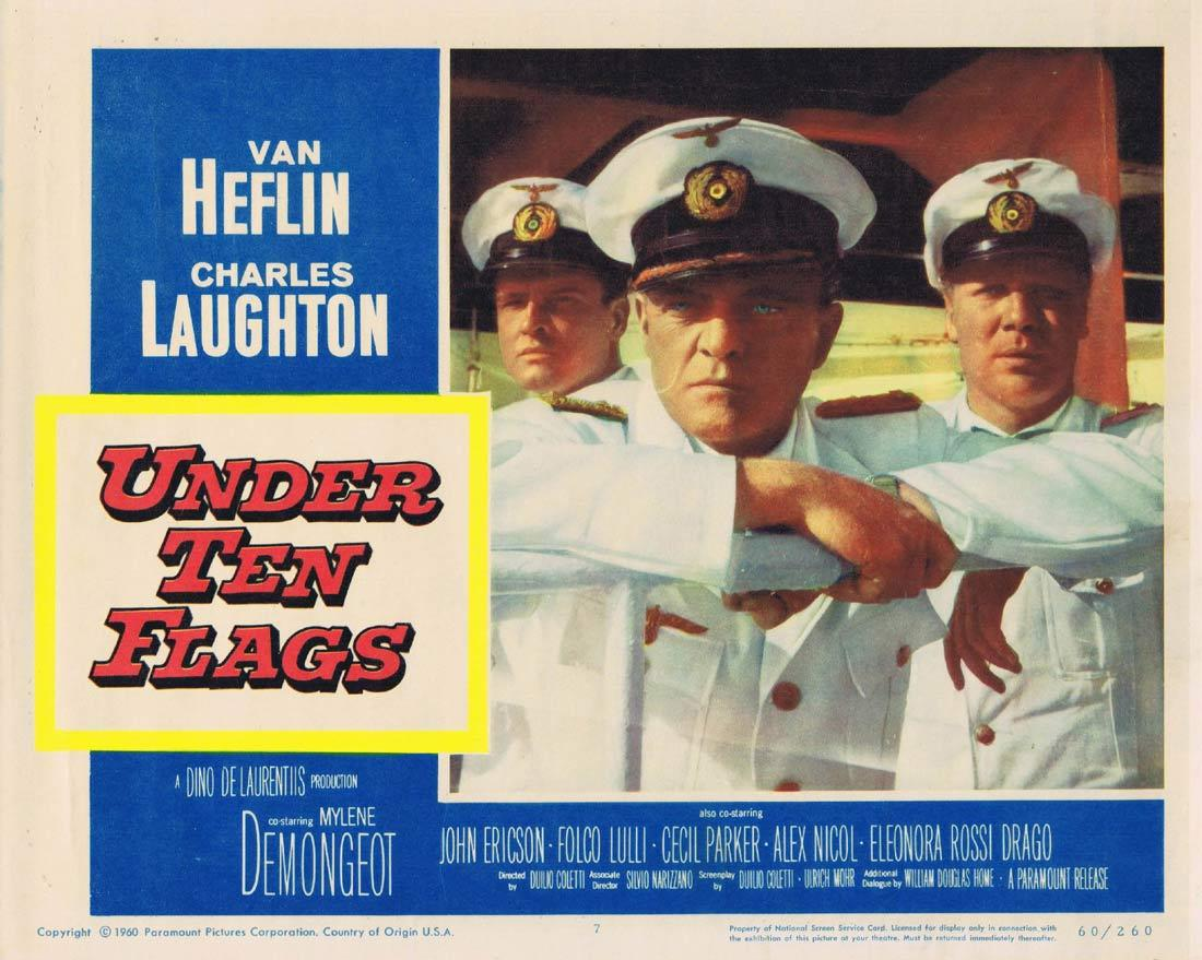 UNDER TEN FLAGS Lobby Card 7 Van Heflin Charles Laughton Mylène Demongeot