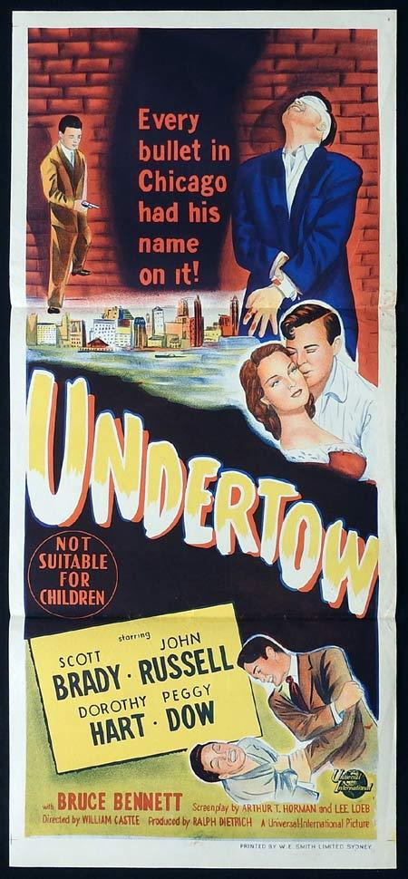 UNDERTOW Original Daybill Movie Poster Scott Brady John Russell Film Noir