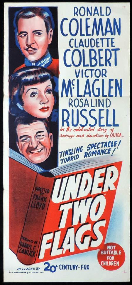 UNDER TWO FLAGS Original 40sr Daybill Movie Poster Claudette Colbert Ronald Colman