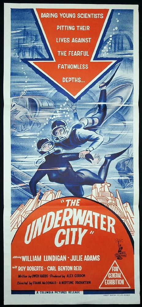 THE UNDERWATER CITY Original Daybill Movie poster William Lundigan Julie Adams