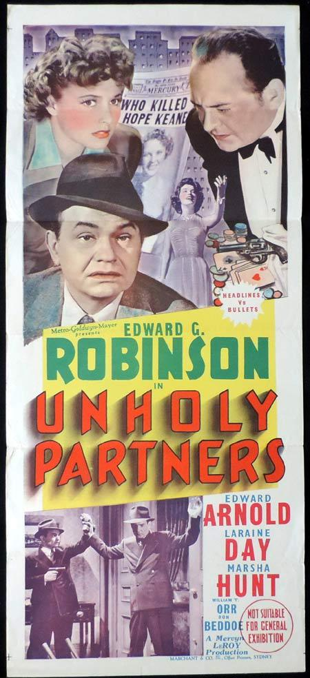 UNHOLY PARTNERS Original Daybill Movie Poster Edward G. Robinson Marchant Graphics