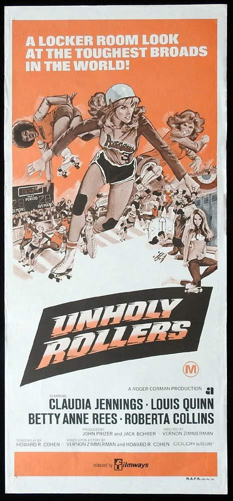 UNHOLY ROLLERS Original Daybill Movie Poster Claudia Jennings Roller Derby