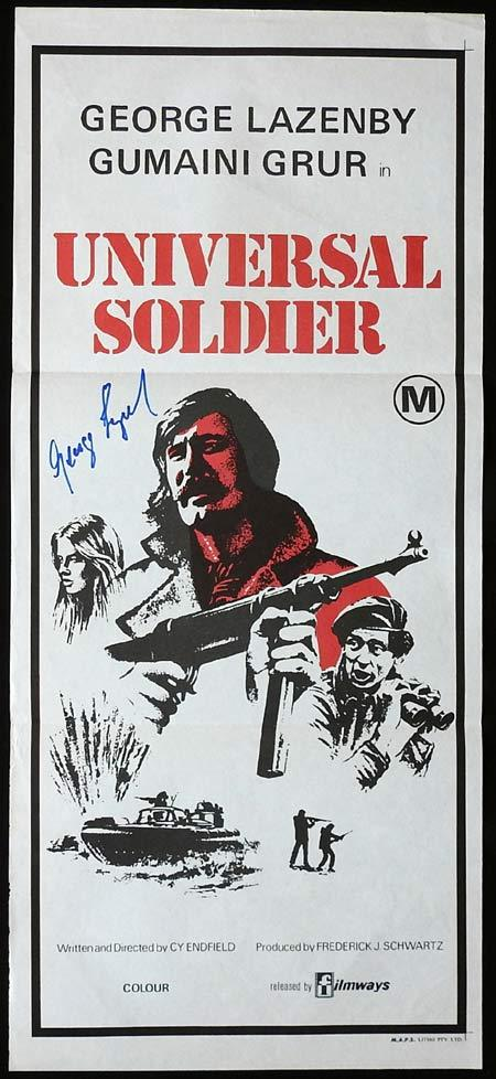 UNIVERSAL SOLDIER Daybill Movie Poster GEORGE LAZENBY Autograph