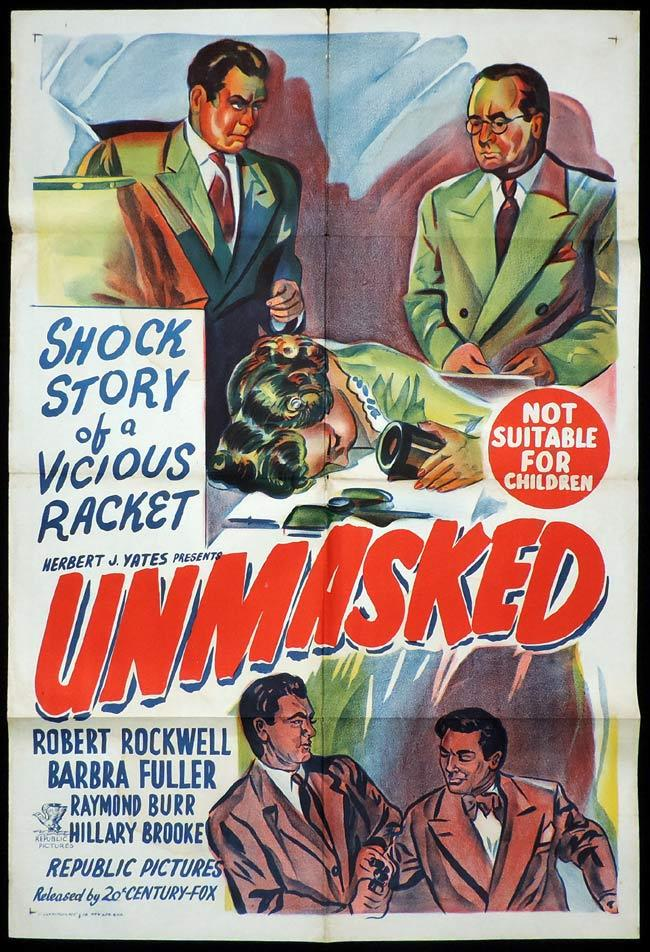 UNMASKED One Sheet Movie Poster Robert Rockwell Film Noir