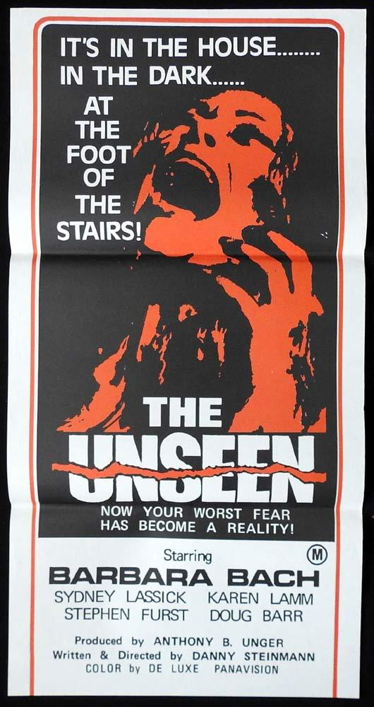 THE UNSEEN Original Daybill Movie poster Barbara Bach Horror Stephen Furst