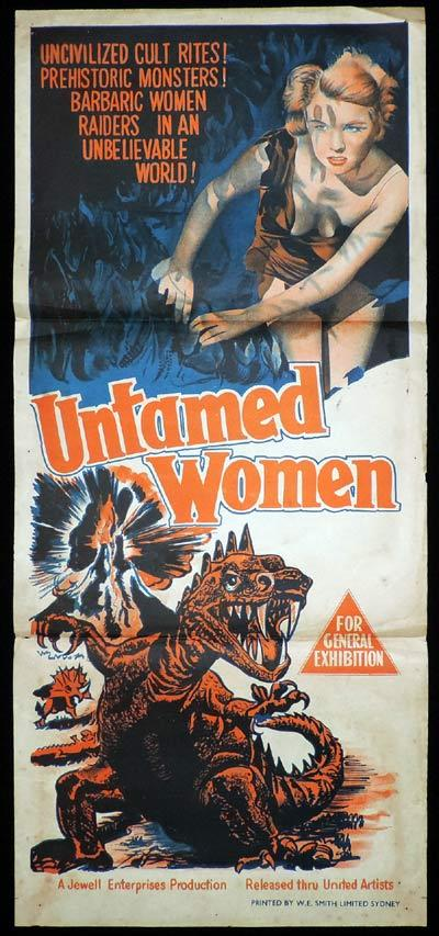 UNTAMED WOMEN Daybill Movie Poster Dinosaurs Sci Fi