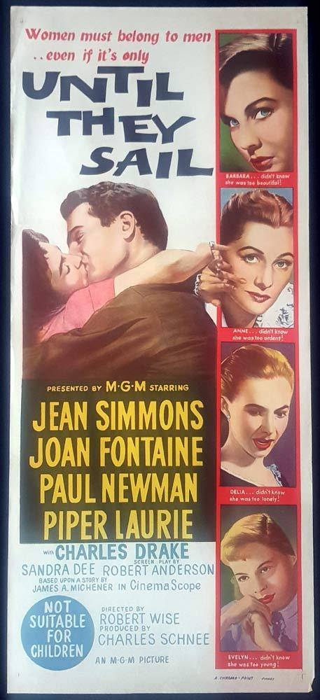 UNTIL THEY SAIL Original Daybill Movie Poster Joan Fontaine Jean Simmons
