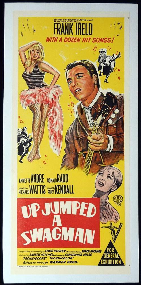UP JUMPED A SWAGMAN Original LINEN BACKED daybill Movie poster Frank Ifield
