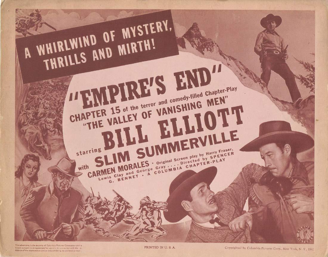 THE VALLEY OF VANISHING MEN Original Lobby Card Columbia Serial Chapt 15 Bill Elliott