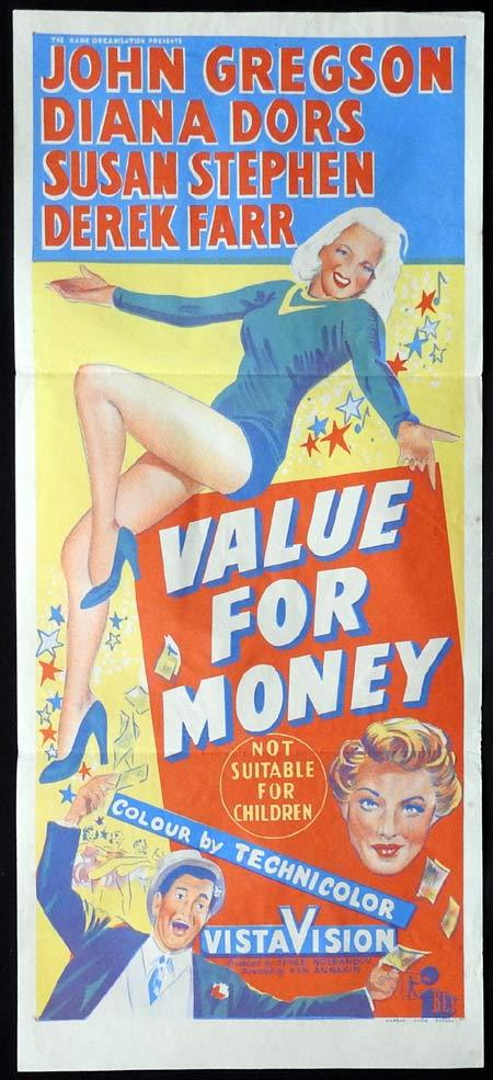 VALUE FOR MONEY Original Daybill Movie poster DIANA DORS John Gregson