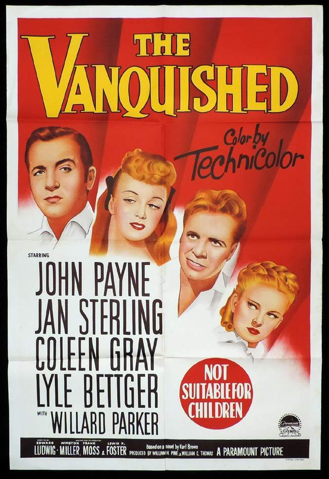 THE VANQUISHED Original One sheet Movie Poster JOHN PAYNE Jan Sterling