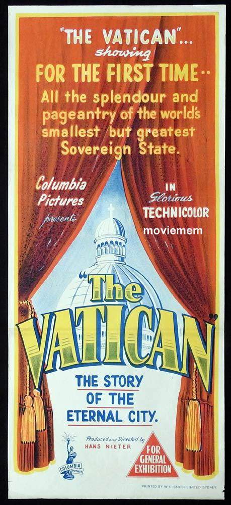 THE VATICAN Original 1950 Daybill Movie Poster Documentary
