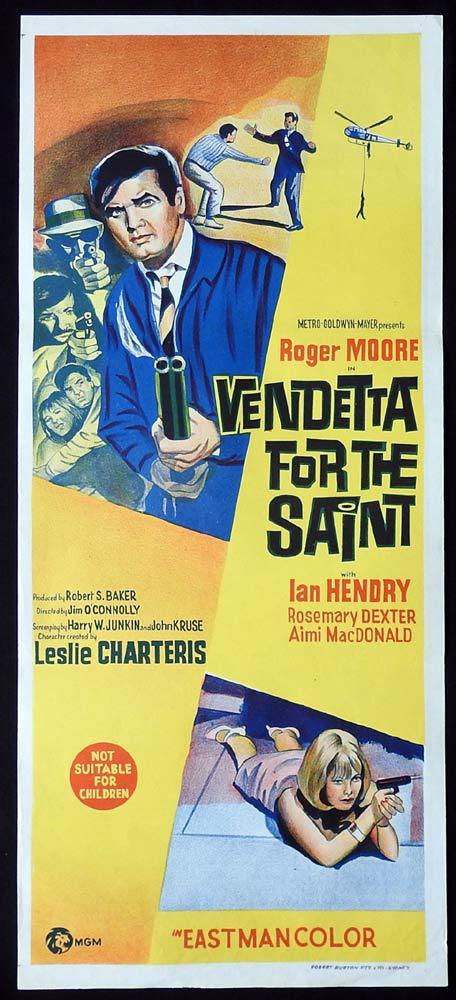 VENDETTA FOR THE SAINT Original Daybill Movie Poster Roger Moore Ian Hendry