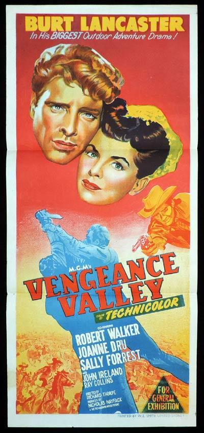 VENGEANCE VALLEY Original Daybill Movie Poster Burt Lancaster Western