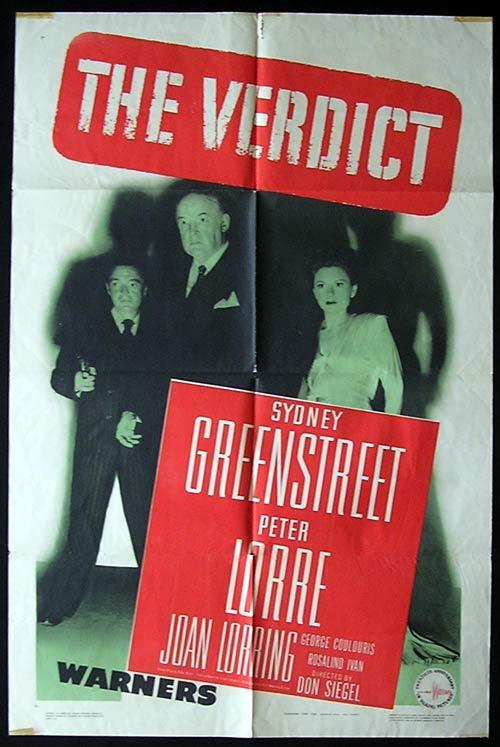 THE VERDICT Movie poster 1947 WARNER BROTHERS FILM NOIR US One sheet