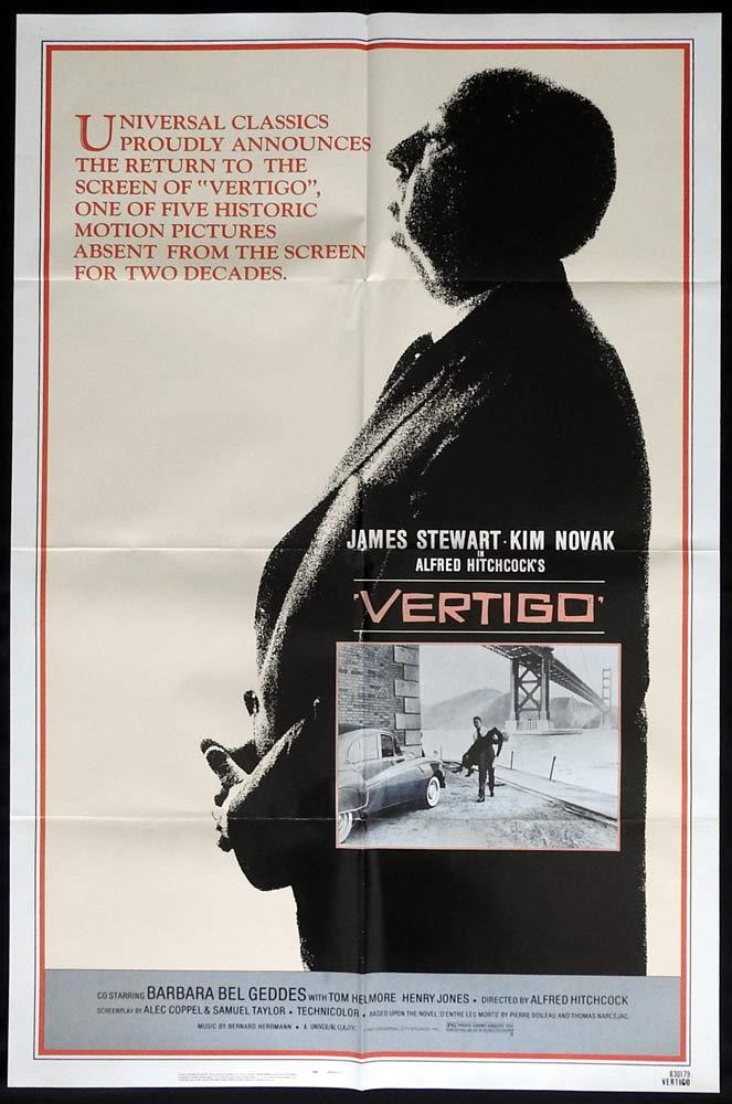 VERTIGO Original 1983r  US One sheet Movie poste Alfred Hitchcockr