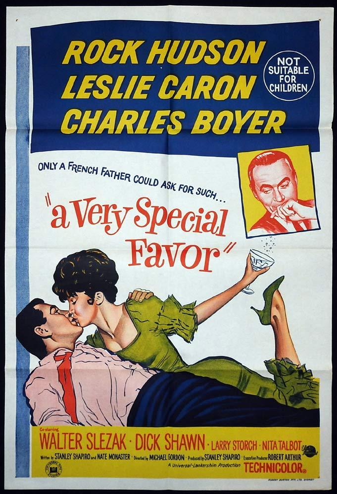 A VERY SPECIAL FAVOR Original ONE SHEET Movie poster Rock Hudson Leslie Caron