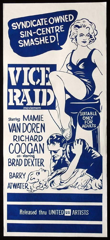 VICE RAID Original Daybill Movie Poster Mamie Van Doren Richard Coogan