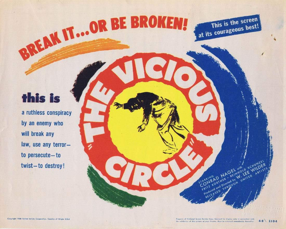 THE VICIOUS CIRCLE Title Lobby Card John Mills Lionel Jeffries Wilfrid Hyde-White  1948 Film Noir