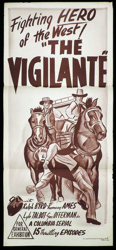 THE VIGILANTE Daybill Movie Poster Columbia Serial Ralph Byrd
