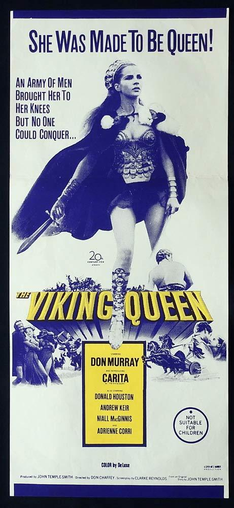 THE VIKING QUEEN Original Daybill Movie Poster Don Murray HAMMER Carita
