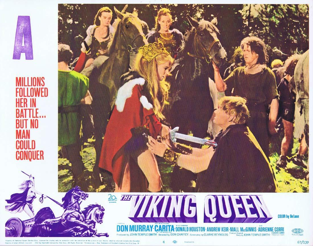 THE VIKING QUEEN Original Hammer Horror Lobby Card 4 Carita