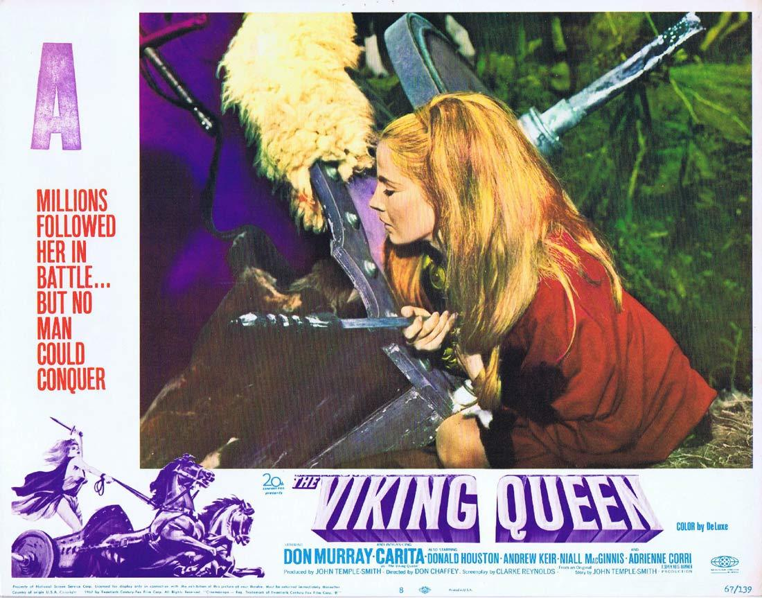 THE VIKING QUEEN Original Hammer Horror Lobby Card 8 Carita