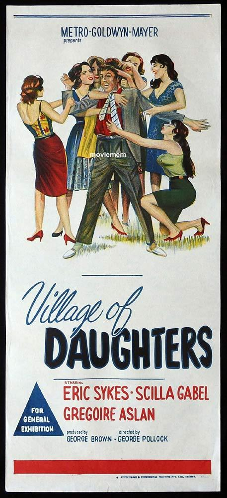 VILLAGE OF DAUGHTERS Original Daybill Movie Poster Eric Sykes Scilla Gabel