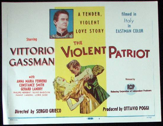 THE VIOLENT PATRIOT Title Lobby Card 1958 Vittorio Gassman