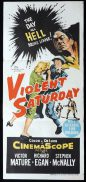 VIOLENT SATURDAY Original Daybill Movie Poster Victor Mature FILM NOIR Lee Marvin