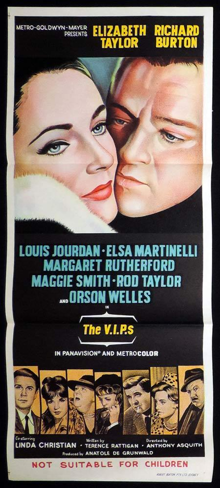 THE VIPS Original Daybill Movie Poster Richard Burton Elizabeth Taylor