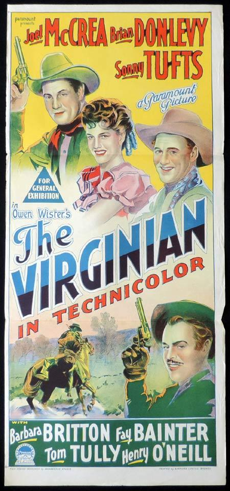 THE VIRGINIAN Original Daybill Movie Poster Joel McCrae Brian Donlevy Richardson Studio