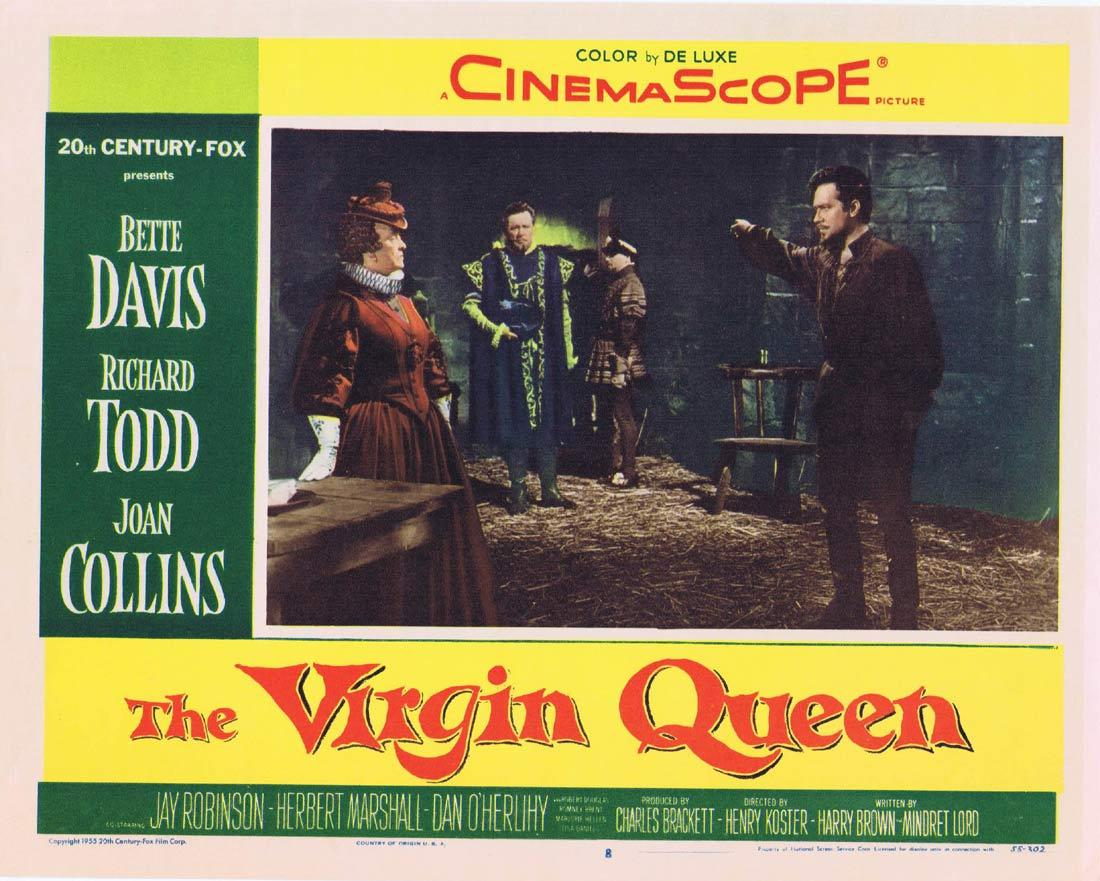 THE VIRGIN QUEEN Vintage Movie Lobby Card 8 Bette Davis Richard Todd Joan Collins