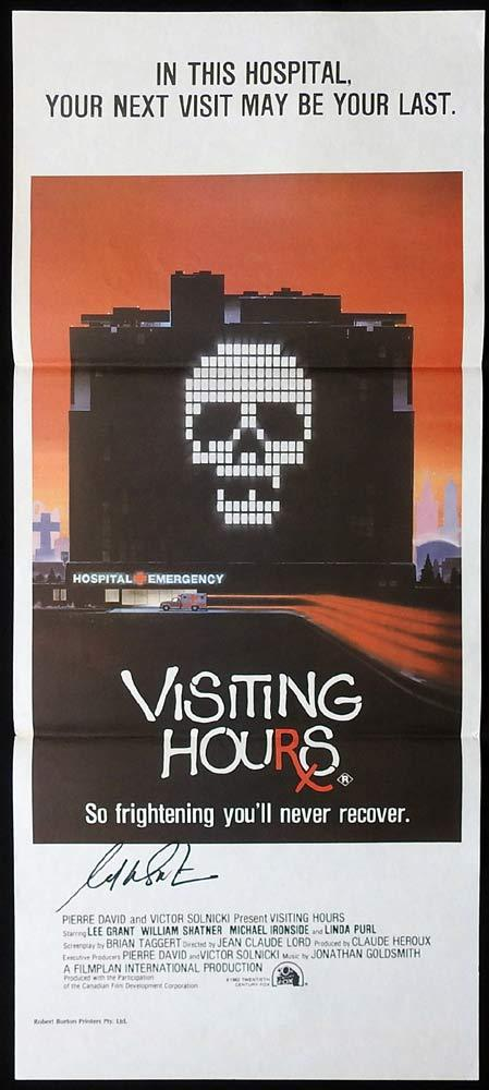 VISITING HOURS Original Daybill Movie Poster WILLIAM SHATNER Autograph