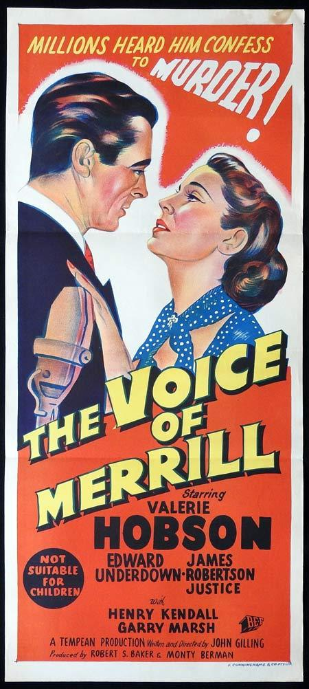 THE VOICE OF MERRILL Original Daybill Movie Poster Valerie Hobson