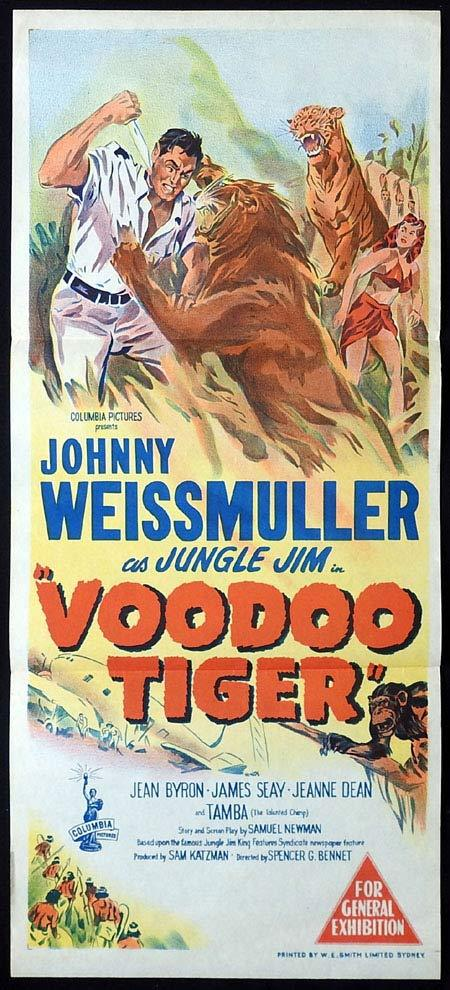 VOODOO TIGER Original Daybill Movie poster Johnny Weissmuller Jungle Jim
