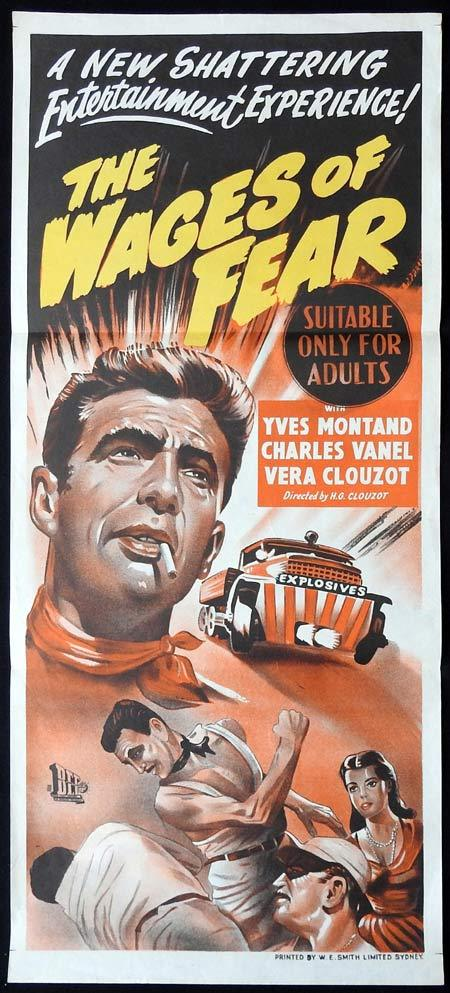 THE WAGES OF FEAR Original Daybill Movie Poster Yves Montand Charles Vanel