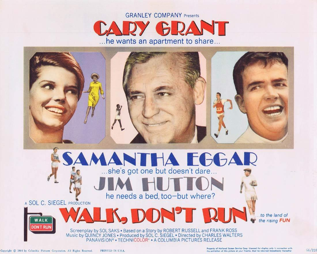 WALK DON'T RUN Title Lobby Card Cary Grant Samantha Eggar Jim Hutton