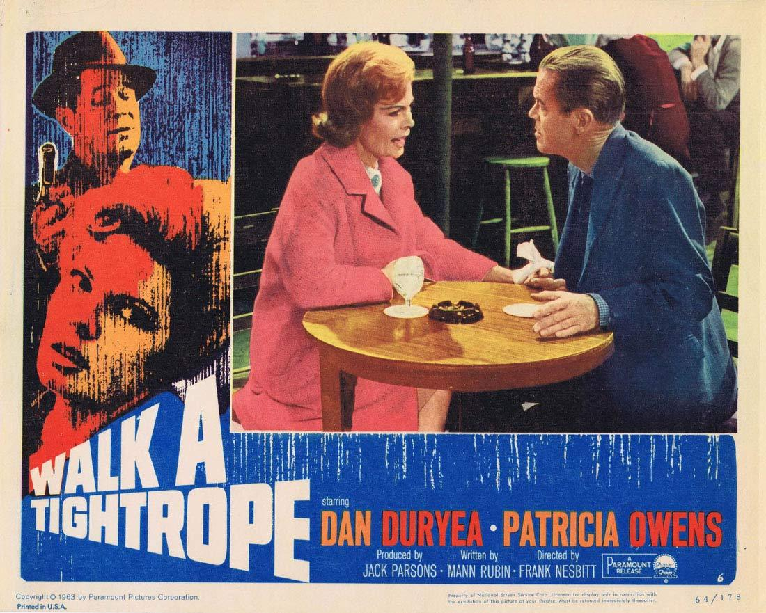 WALK A TIGHTROPE Original Lobby Card 6 Dan Duryea Patricia Owens Terence Cooper