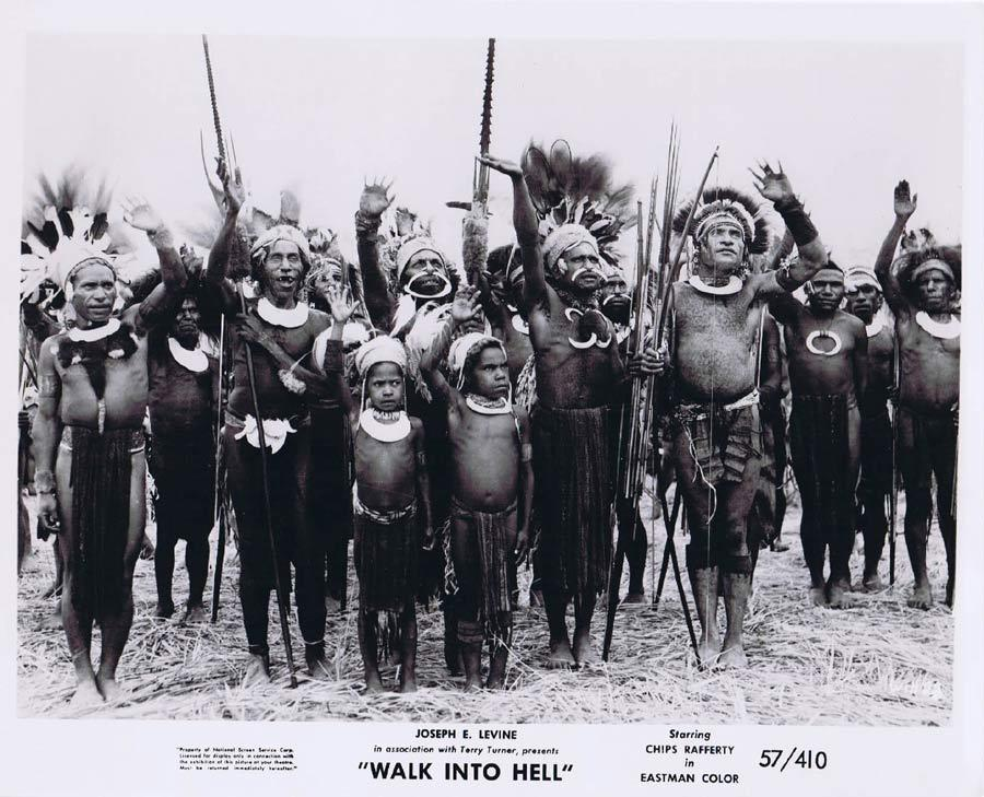 WALK INTO HELL Original Movie Still 15 New Guinea Tribesmen Walk Into Paradise