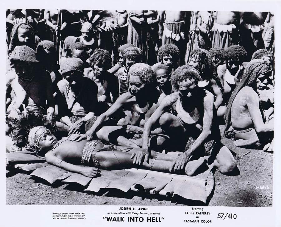 WALK INTO HELL Original Movie Still 20 New Guinea Tribesmen Walk Into Paradise