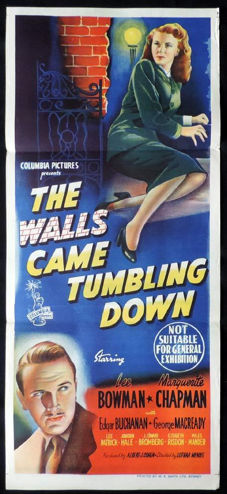 THE WALLS CAME TUMBLING DOWN Original Daybill Movie Poster Marguerite Chapman Film Noir