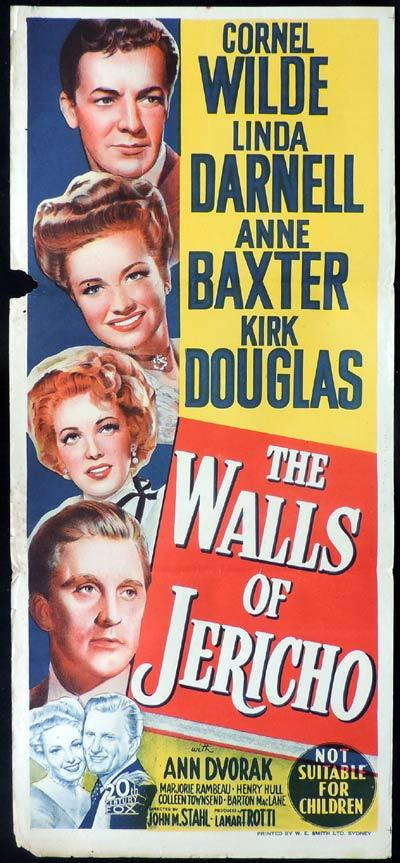 THE WALLS OF JERICHO Daybill Movie Poster Kirk Douglas Linda Darnell