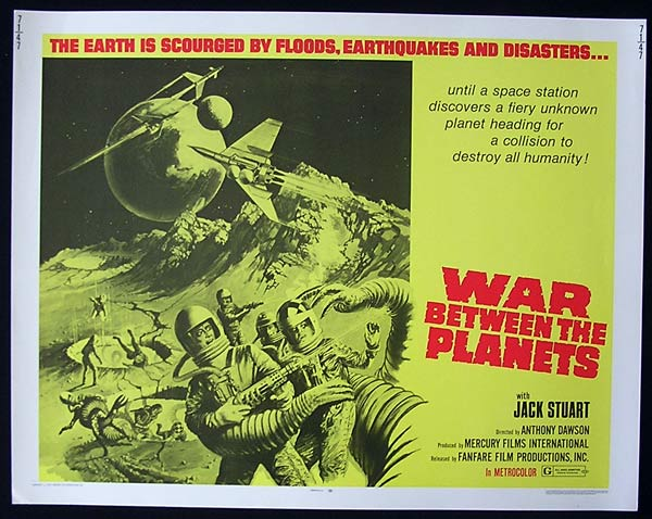 WAR BETWEEN THE PLANETS  Original US Half sheet Movie Poster  Antonio Margheriti Sci Fi